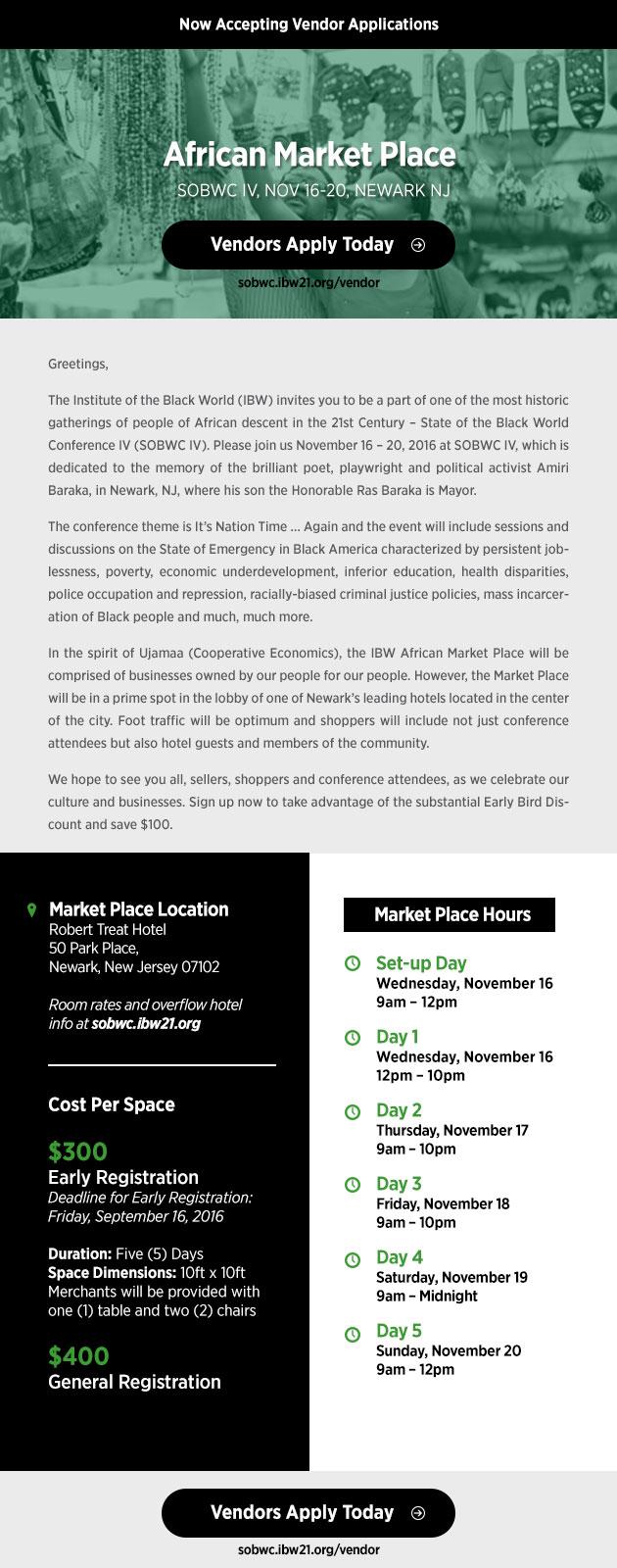 African Market Place Vendor Opportunities - SOBWC IV, Nov 16-20, 2016, Robert Treat Hotel, 50 Park Pl., Newark NJ 07102